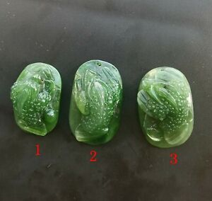 Golden Toad Dragon,natural Nephrite green jade stone pendant,Amulet necklace
