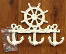 Cast Iron Nautical  Wall Hook  SHIPS WHEEL Anchor Hooks White  Wall Home Decor