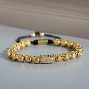 New Men Women Luxurious Copper Bead Zircon Handmade Hand Woven Rope Bracelets