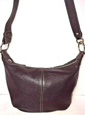 Furla Dark Brown Pebbled Leather Shoulder Bag Silvertone Hardware