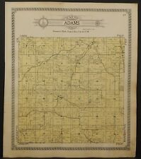Wisconsin Green County Map Adams & York Townships 1918 Double Side J23#75