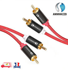 Audio Câble RCA Mâle vers RCA Mâle 2X Stéréo 1M Rouge
