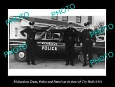 OLD POSTCARD SIZE PHOTO OF RICHARDSON TEXAS THE POLICE & PATROL CARS c1950