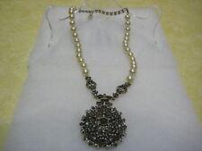 """HEIDI DAUS """"Unforgettable Lavaliere"""" (Cream) Locket Drop Necklace (Orig.$189.95)"""