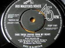 """RAY CHARLES - TAKE THESE CHAINS FROM MY HEART  7"""" VINYL"""