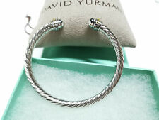 David Yurman Silver Cable Cuff Classic Bracelet With 18K 750 gold 5mm new