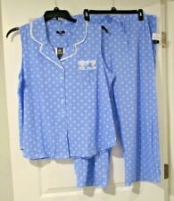 Aria womens sleeveless capri pajamas size XL blue print