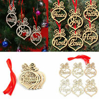 6pcs Wooden Christmas Tree Decor Hanging Tags Craft Xmas Pendant Ornaments Gift