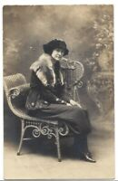 Unknown Portrait of Woman in Parlour Circa 1890 Woven Post Card