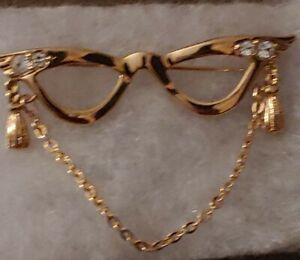 Avon Glasses Brooch,goldtone pin