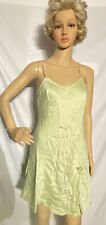 Vintage Gold Label 100% Silk Chemise Negligee Nightgown Light Green Medium
