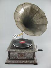 Grammophon graviert ziseliert eckig metallic silber optik Geschenk Dekoration