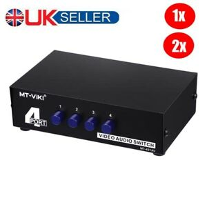 4 Port AV Audio Video RCA 4 Input 1 Output Switcher Switch Selector Splitter Box