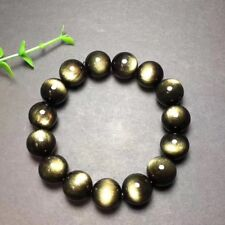 14mm Genuine Natural Rainbow Eyes Obsidian Gold Flash Gems Beads Necklace