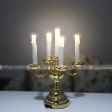 Desk Table Lamps Candle Light Holder Switch Battery Dollhouse Miniature 1:12