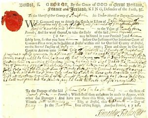 """1726 Colonial American Document JOHN COLE OF REHOBOTH IN A """"PLEA OF DEBT"""""""