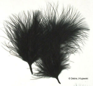 """Quality Marabou Feathers JET BLACK  Fluffy 3-8"""" L 7 grams Approx 35 ct"""
