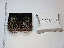 Ladies Womens Avon Can't Bead it Earring 2 pair goldtone carnelian F334761 NIP;;