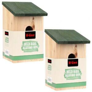 2 X WOODEN NESTING BOXES NEST BOX BIRD HOUSE SMALL BIRDS BLUE TIT ROBIN SPARROW