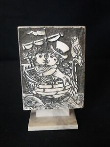Vtg▪MCM▪illi Corp▪Carved Travertine PLAQUE▪ LOVERS in SHIP▪Rodney Winfield