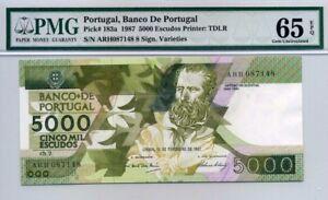 PORTUGAL 5000 Escudos  1987 P-183a   PMG 65 EPQ Gem UNC