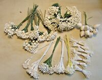 Lot of 33 Bunches of White Vintage Stamens Millinery Hat Flowers Bridal Crafts