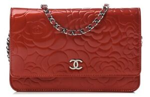 CHANEL RED PATENT CAMELLIA CC WOC WALLET ON A CHAIN CROSSBODY BAG