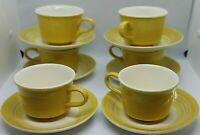 Harvest Gold Floral Cavalier Cups and Saucers Vintage set of 6