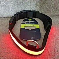 Large dog LED Dog Pet Collar Flashing Luminous Safety Light Up Nylon UK