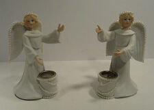 R R Roman Porcelain Angel Candle Holder Set of Two