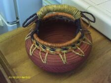 CLAY POT WITH WOVEN HANDLE-8 X 81/2 INCHES - SOUTHWEST LOOK PAPAGO ?