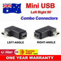 2pcs 90° Degree Left + Right Angle Mini USB Male to Female Converter Connector