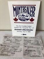 AMTRAK'S MONTREALER INAUGURAL Railway Tickets Railroad 1989 SET Train #H