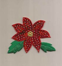 Christmas Poinsettia Sequin Embroidered Iron-On Patch Applique 1113725