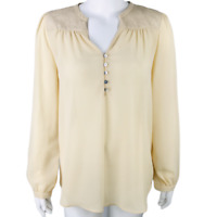Romeo & Juliet Couture Blouse Womens Size Medium Ivory Top Career Long Sleeve