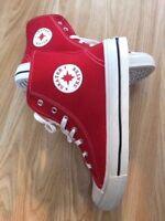 Men Red Hi-Top Canvas Baseball Trainer Boots Pumps Retro Lace up Shoes Size