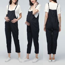 Pregnant Women Loose Cotton Playsuits Strap Sleeveless Dungaree Harem Jumpsuits