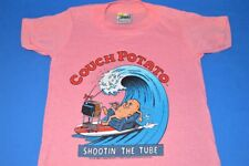 vtg 80s Couch Potato Surfing Shootin The Tube Surf Pink t-shirt Youth Kids 5/6