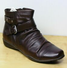 M&S FOOTGLOVE Real LEATHER Low Wedge ANKLE BOOTS ~ Size 4.5 WIDE ~ Brown