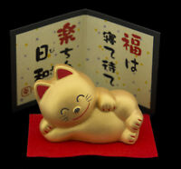 Estatuilla Gato Japonés Largo 9cm Dorado Fabricado en Japón Maneki Neko 40634