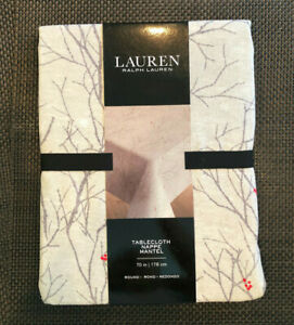 """Ralph Lauren WINTER BRANCHES Gray, Taupe & Red 70"""" Round Tablecloth--NWT"""