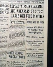 END OF PROHIBITION 18th Amendment Repeal BEER RETURNS in Alabama 1933 Newspaper