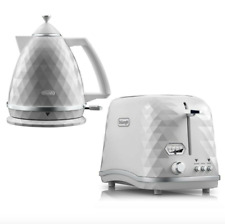 Delonghi Brilliante Exclusive Kettle + 2-Slice Toaster Set - Designer White -New