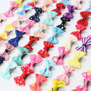 20X Mini Baby Hair Clips Girls Kids Ribbon Hair Clip Bow Hairpin Alligator Clips