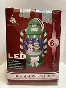 6'  Airblown Inflatable LED Christmas Lantern Snowman w/ Tree Enchanted Forest