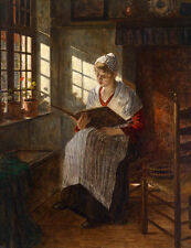 Nice Oil painting young woman seated by window See her old photos canvas