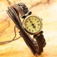 Retro Vintage Lady Women's Girls Bracelet Leather Quartz Watch 002