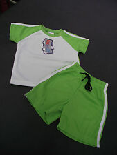 BNWT Boys Size 1 Cute White and Lime Stretch Sports Tee Shirt & Shorts Set