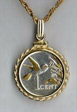 Silver and Gold Coin Necklace W/ Rope Bezel, Trinidad 1 cent Hummingbird, 130W