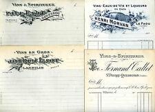 lot de 4 documents factures Finistère Bretagne boissons vins et spiritueux
